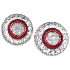 David Webb Rock Crystal, Diamonds and Red Enamel Earrings