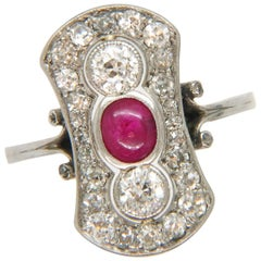 Art Deco Cabochon Ruby and Diamond Ring