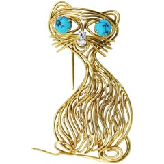 1960s Turquoise and Diamond Cat Brooch
