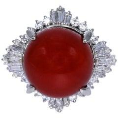Japanese Aka Coral and Diamond Ring