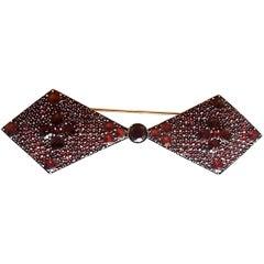 Bohemian Garnet Large Bow Tie Brooch