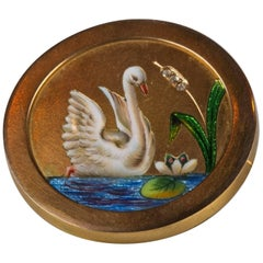 18 Carat Gold Enamel and Diamond Swan Miniature Portrait Brooch