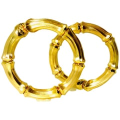 Cartier Large Bamboo 18 Karat Hoop Ear-Clips