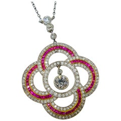 Art Deco Ruby and Diamond Pendant