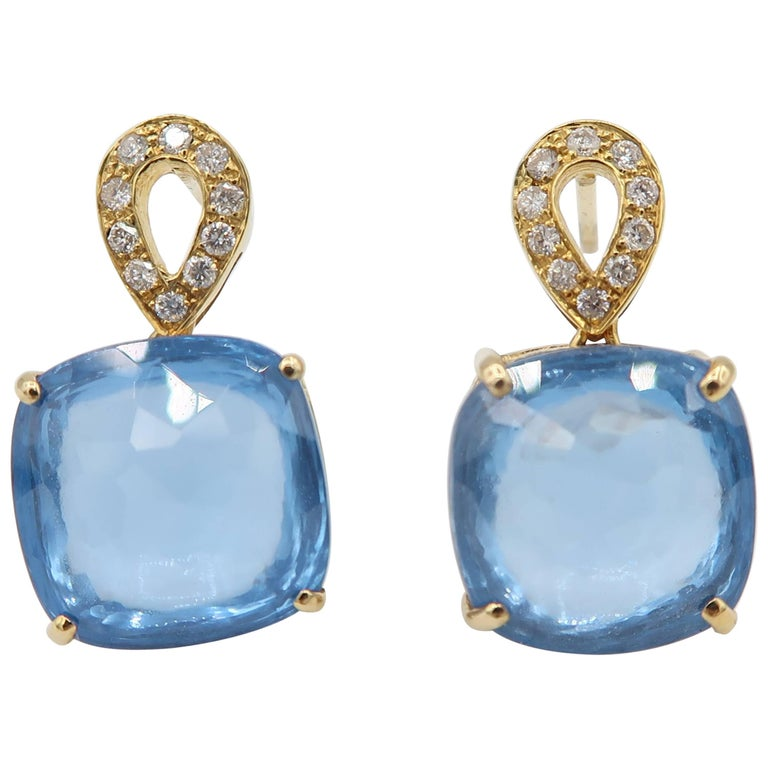 Blue Topaz Diamond Yellow Gold Pierced Earrings
