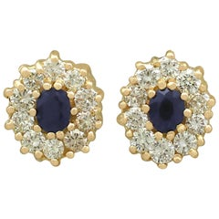 1990s Sapphire and Diamond Yellow Gold Stud Earrings