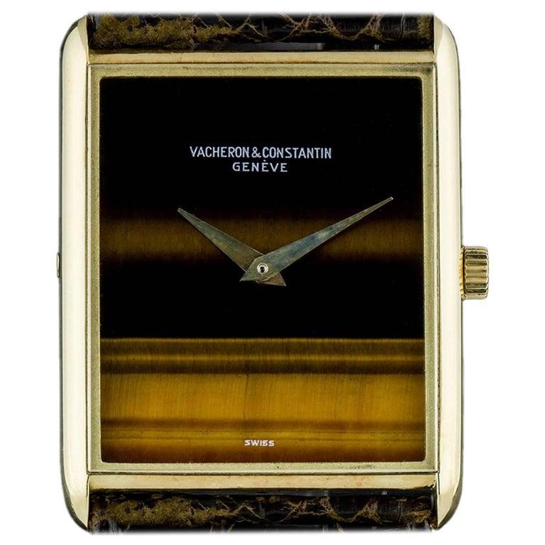 Vacheron Constantin Yellow Gold Tiger's Eye Dial Vintage Manual Wristwatch