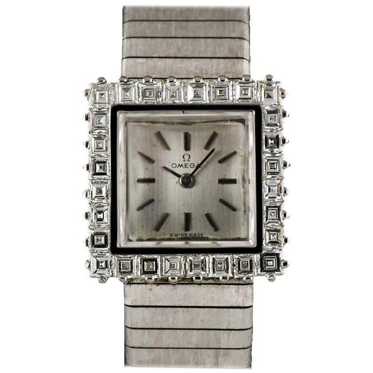 Omega White Gold Silver Dial Diamond Set Ladies Vintage Manual Wind Watch 8082