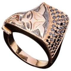 Rose Gold Viking Ring with Black Diamonds
