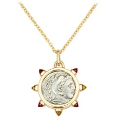 Dubini Alexander the Great Silver Coin Pendant Garnet and Citrine Gold Necklace