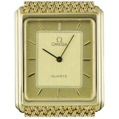 Omega Yellow Gold Champagne Dial Dress Quartz Wristwatch