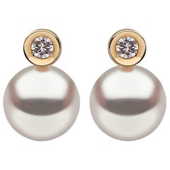 Yoko London Akoya Pearl Earrings in Yellow Gold with White Diamonds