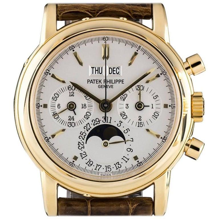 Patek Philippe Yellow Gold Perpetual Calendar Chronograph Manual Wind Wristwatch