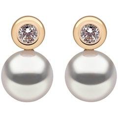 Yoko London Akoya Pearl Earrings in Yellow Gold with White Diamonds