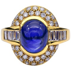 Blue Sapphire Baguettes and Round Diamonds Cocktail Ring