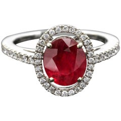 2.30 Carat Ruby and Diamond Halo Engagement Ring