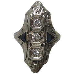 Art Deco Diamond and Synthetic Sapphire 18 Karat White Gold Ring