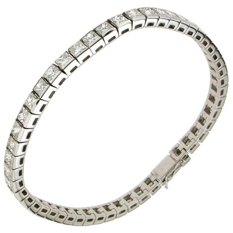 12.75 Carat White Gold Diamonds Tennis Bracelet