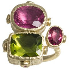 One of a Kind Rubelite Peridot and Sapphires Cocktail Ring in Gold and Silver