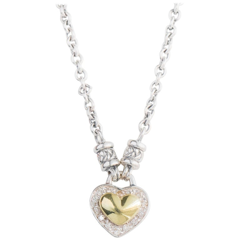 Puffed Heart Sterling Silver and 18 Karat Yellow Gold Necklace