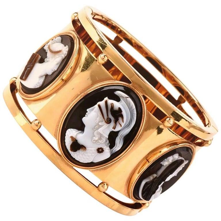 Cameo Wide Gold Large Bangle Bracelet