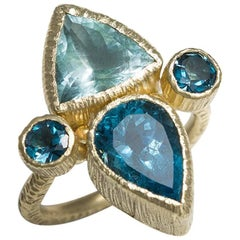 One of a Kind Aquamarine and London Blue Topaz Cocktail Ring in Art Deco Style