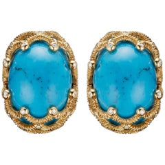 Marchak's Earrings Turquoises, Diamonds and 18 Carat Textured Gold