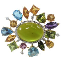 Yellow Gold Brooch with Various Colorful Gemstones