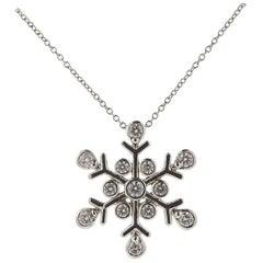 Tiffany & Co. Diamond Platinum Snowflake Pendant Necklace