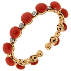 Chantecler of Capri Coral Yellow Gold Diamonds Bracelet