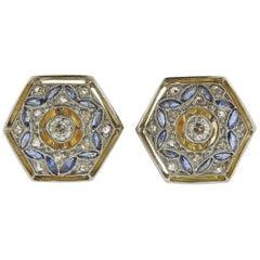 Art Deco Diamond Sapphire Gold Stud Earrings