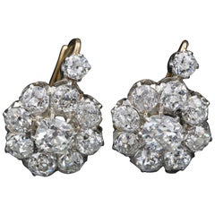 19th Century Gold, Platinum and Diamonds Earrings, French Made