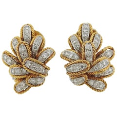 1970s Diamond Gold Earrings