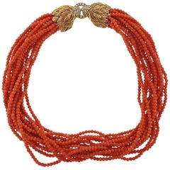 Diamond Ruby Lion Head Gold Coral Necklace