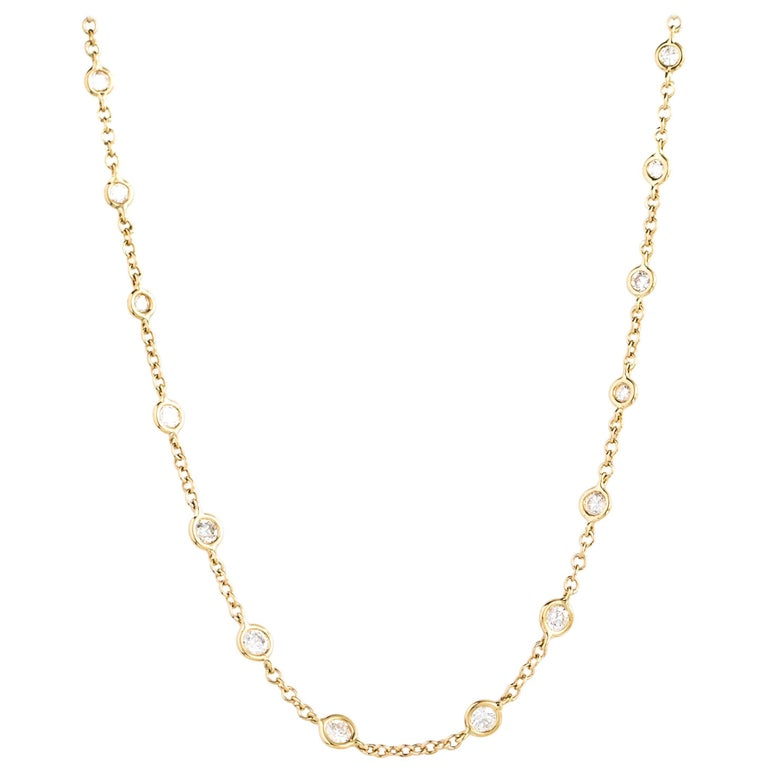 2 Carat Bezel Set Diamond Link Necklace in 14 Karat Yellow Gold