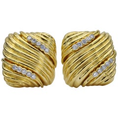 Gold and Diamond Clip-On Earrings