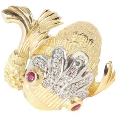 Yvonne Leon's Ring Fish with Diamonds Ruby and 18 Karat Gold