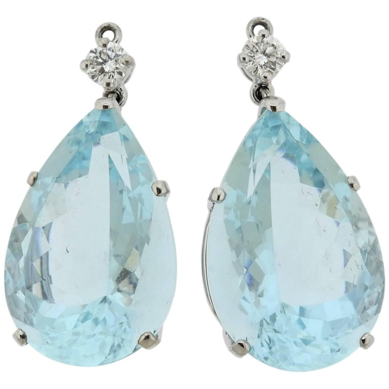 Adria de Haume Aquamarine Diamond Gold Earring Pendants