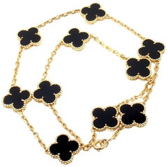 Van Cleef & Arpels Vintage Alhambra Onyx Gold Ten Motif Necklace