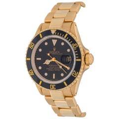 Rolex Yellow Gold Submariner Wristwatch Ref 16808