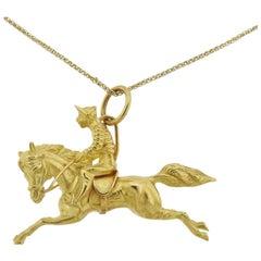 Adria de Haume Gold Jockey Pendant Necklace