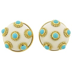 Adria de Haume Turquoise Hardstone Gold Button Earrings
