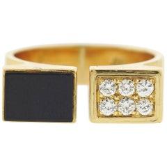 1980s Cartier Diamond Onyx Gold Cuff Ring