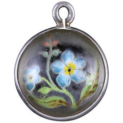 Antique Victorian Rock Crystal Forget Me Not Pendant, circa 1900