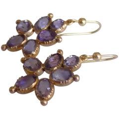 Victorian 18 Karat Gold Amethyst Drop Earrings