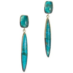 Chrysocolla Green Gold Sterling Black Silver Drop Dangle Earrings