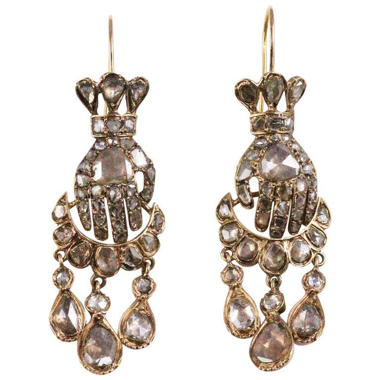 Early Victorian Hand Motif 18K Gold and Rose Cut Diamond en Tremblant Earrings