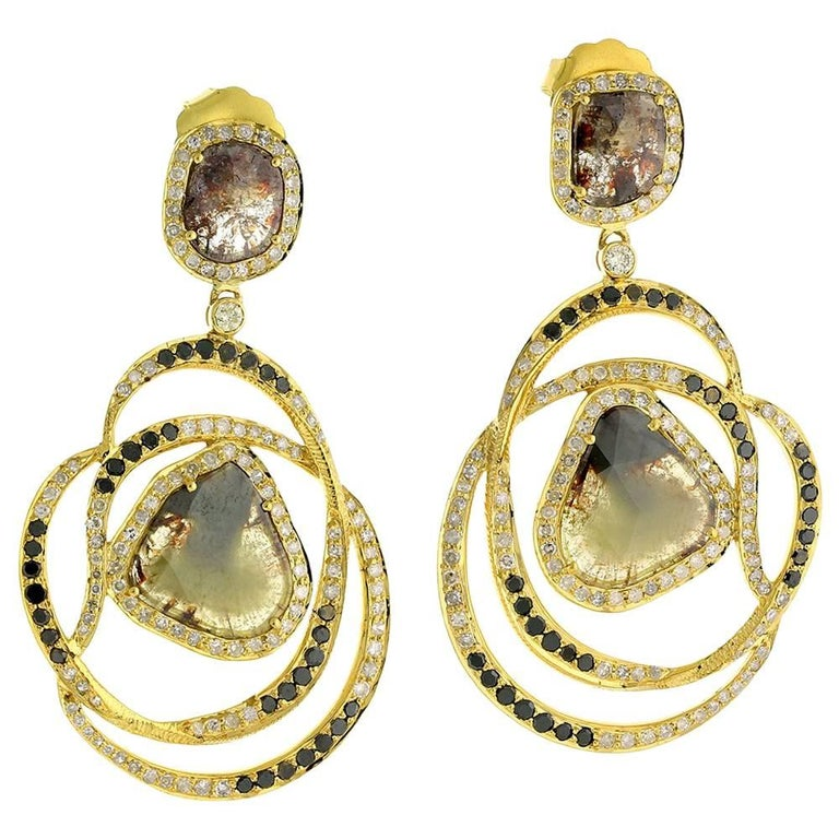 Slice Diamond Earring in 18 Karat Yellow Gold