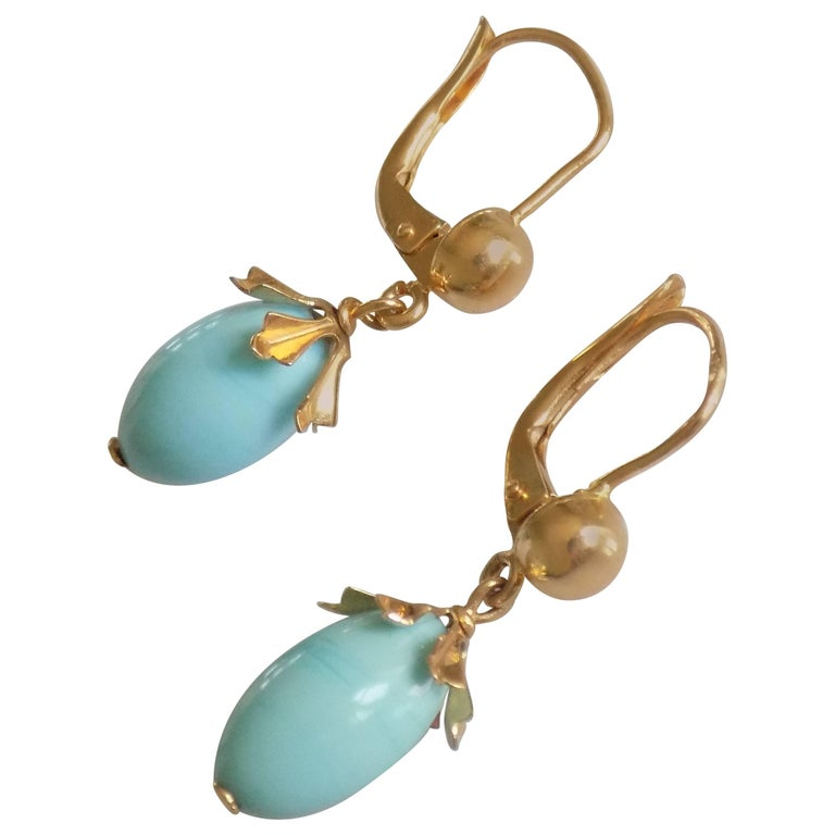 Vintage 18 Karat Gold Turquoise Drop Earrings