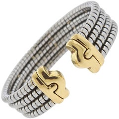 Bulgari Parentesi Gold and Steel Cuff Bracelet